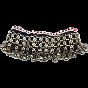 Kuchi Anklet, Bells Bracelet, Vintage Afghan, Boho Bohemian, Belly Dance, Bollywood, Gypsy, Red Glass Bead, Big Statement, Festival Jewelry