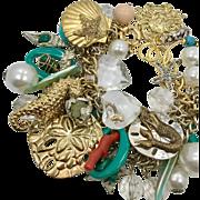 Mermaid Bracelet, Charm Bracelet, Massive, Turquoise, Huge, Aqua, Mixed Metal, Silver, Gold, OOAK, Artisan, Sea Shell, Ocean, Beach, Cruise