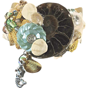 Mermaid Bracelet, Cuff Bracelet, Real Ammonite, Vintage Collage, Assemblage, OOAK Unique, Boho Statement, Bohemian, Sea Ocean, Mixed Media