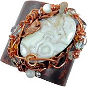 Lace Agate Cuff, Forged Bracelet, Grey Gray, Copper Cuff, Boho Bohemian, Wire Wrapped, Beaded, OOAK, Rustic, Organic, Big Statement, Hippie