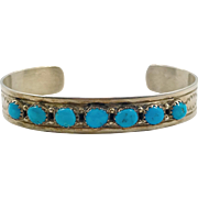 Turquoise Cuff, Native American, Vintage Bracelet, Turquoise Bracelet, Small Wrist, Zuni, Chased Stamped, Southwestern,Stacking, Layer