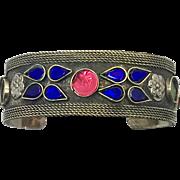 Afghan Bracelet, Gypsy Cuff, Cobalt Blue, Red, Green, Fuchsia, Vintage Bracelet, Silver, Turkoman, Jeweled, Unisex, Mens, Kuchi, Big