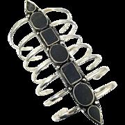 Black Bracelet, Afghan, Massive, Wide Kuchi Bracelet, Vintage Bracelet, Cuff, Silver Ethnic, Turkoman Gypsy, Tribal, Statement, #2