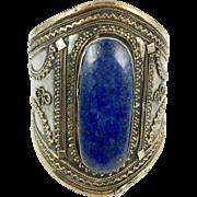 Lapis Bracelet, Silver Wide Cuff, Vintage Bracelet, Massive, Turkmen, Kuchi Jewelry, Gypsy, Big Statement, Bohemian, Ethnic, Large, Boho