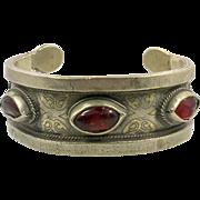 Kuchi Cuff Bracelet, Vintage Bracelet, Red Jewels, Small Wrist, Silver Boho, Cuff Bracelet, Turkmen, Gypsy Ethnic, Afghan, Bohemian, #2
