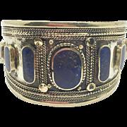 Lapis Bracelet, Kuchi Jewelry, Silver Cuff, Vintage Turkmen, Unisex, Mens, Big Statement, Afghan, Ethnic Tribal, Large Boho, Mixed Metal, #1