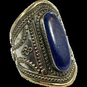 Lapis Bracelet, Silver Wide Cuff, Vintage Bracelet, Massive, Turkmen, Kuchi Jewelry, Gypsy, Big Statement, Bohemian, Ethnic, Large, Boho, #2