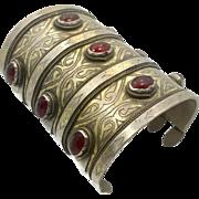 Kuchi Cuff Bracelet, Silver Gold, Boho Wide Bracelet, Vintage Turkomen, Vintage Bracelet, Gypsy Ethnic, Afghan, Bohemian, Statement, Nomad