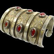 Kuchi Cuff Bracelet, Silver Gold, Boho Wide Bracelet, Vintage Turkomen, Vintage Bracelet, Gypsy Ethnic, Afghan, Bohemian
