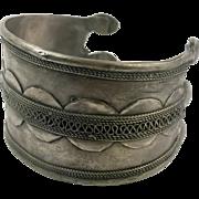 Afghan Cuff, Kuchi Bracelet, Silver Metal, Vintage Jewelry, Patina, Nomad Turkoman, Ethnic Tribal, Boho Jewelry, Festival Cuff, Bohemian #1