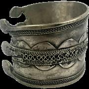Afghan Cuff, Kuchi Bracelet, Silver Metal, Vintage Jewelry, Patina, Nomad Turkoman, Ethnic Tribal, Boho Jewelry, Festival Cuff, Bohemian #2