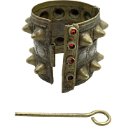 Kuchi Bracelet, Hinged, Cuff Bracelet, Spiked, Vintage Bracelet, Wide, Afghan Ethnic, Jeweled, Red, Turkoman, Small Wrist, Tribal, Statement