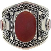 Kuchi Bracelet, Silver Cuff, Boho Bracelet, Carnelian Glass, Vintage Bracelet, Turkmen, Big Statement, Afghan, Ethnic, Large, Wide, #2