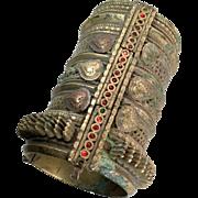 Kuchi Bracelet, Massive, Wide Bracelet, Vintage Gypsy, Old Patina, Hinged, Ethnic Turkoman, Statement, Mixed Metals, Tribal, Afghan, Bangle