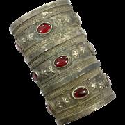 Kuchi Cuff Bracelet, Huge, Large, Big, Vintage Silver, Boho, Red Jewels, Wide, Patina, Statement, Turkmen, Gypsy Ethnic, Afghan, Bohemian #1