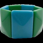 Lucite Bracelet, Blue, Green, Vintage Bracelet, Stretch Bracelet, 1960s, 60s, Wide, Chunky, Big, Mod Bracelet, Large, Plastic