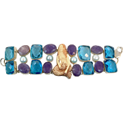 Mermaid Bracelet, Quartz, Faux Blue Topaz, Vintage Bracelet, Statement, Beach Jewelry, Silver, Big, Carved Bone, Wide, Massive, Oversized