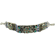Turquoise Bracelet, Red Coral Inlay, Nepal Jewelry, Vintage Bracelet, Tibetan Silver, Boho, Tribal Ethnic, Gypsy Hippie, Tibet Nepal