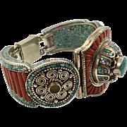 Tibetan Bracelet,Turquoise Bracelet, Coral Inlay, Nepal Jewelry, Vintage Bracelet, Big,Tibetan Silver, Boho Bohemian, Ethnic, Large, Huge