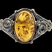 Amber Bracelet, Baltic Honey Amber, Sterling Silver, Hinged Bangle, Swirls, Large, Vintage Bracelet, Contemporary, Big Statement, Modern