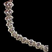 Amethyst Bracelet, Marcasite Bracelet, Sterling Silver, Vintage Bracelet, Heart Shaped Stones, Linked, Purple, Statement, Boho Bohemian