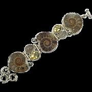 Ammonite Bracelet, Sterling Silver, Citrine, Rutilated Quartz, Fossil, Big Statement, Multi Stone, Brown, Wide, Unique Large, Rustic, Heavy