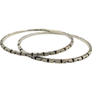 Sterling Silver Bangle, Two, Pair, Taxco, Mexico, Vintage Bracelet, Set, Sterling Bracelet, Chiseled, Stacking, Layer, Silver Bangle