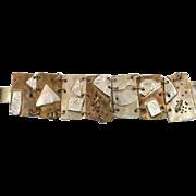 Mixed Metal Bracelet, Sterling Silver, Bronze, Vintage, Artisan, Modernist, Handcrafted, Modern, Contemporary, Brutalist, Geometric, Wide