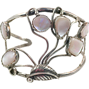 Pink Shell Bracelet, Mother of Pearl, Sterling Silver, Cuff Bracelet, Vintage Bracelet, Native American, Pink Bracelet, Small Wrist, Boho