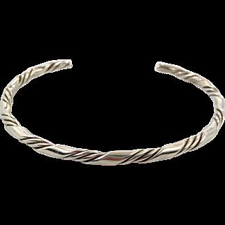 Sterling Silver, Cuff Bracelet, Vintage Bracelet, Twisted Pattern, Boho Jewelry, Bohemian, Stacking Bracelet, Minimalist, Small Wrist