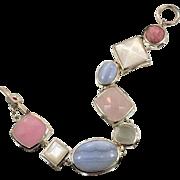 Gemstone Bracelet, Sterling Silver, Pink Rose Quartz, MOP, Blue Lace Agate, Pastel Stones, Vintage, Rhodochrosite, Linked, Elle, Designer