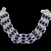 Lapis Bracelet, Sterling Bracelet, Vintage Jewelry, Links, Linked, Station, Blue Stone, Cobalt Blue, Wide, Multi Stone, Big, Large