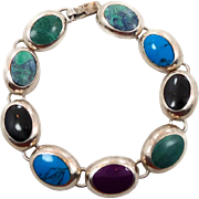 Turquoise Bracelet, Multi Mixed Stone, Sterling Bracelet, Vintage Mexico, Links Linked, Malachite, Black Onyx, Purple Sugilite, Heavy Silver
