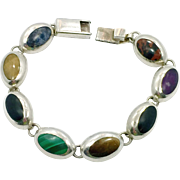 Mixed Stone Bracelet, Green Malachite, Black Onyx, Blue Lapis, Sterling Bracelet, Vintage Mexico, Links Linked, Sugilite, Heavy Silver
