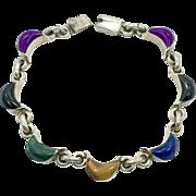 Multi-Stone Bracelet, Sterling Bracelet, Lapis, Sugilite, Onyx, Tiger Eye, Malachite, Vintage Mexico, Links Linked, Vintage Bracelet, Mixed