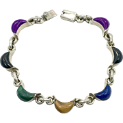 Multi-Stone Bracelet, Sterling Bracelet, Lapis, Sugilite, Onyx, Tiger Eye, Malachite, Vintage Mexico, Links Linked, Vintage Bracelet, Mixed
