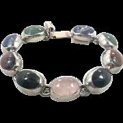 Stone Bracelet, Onyx, Rose Quartz, Sodalite, Chrysoprase, Vintage Bracelet, Mexico, Taxco, Multi Stone, Heavy, Links, Mixed Stones, Big