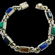 Multi-Stone Bracelet, Sterling Bracelet, Taxco, Mexico, Lapis, Black Onyx, Malachite, Tiger Eye, Vintage Bracelet, Silver Bracelet, Links