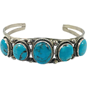 Turquoise Cuff, Sterling Silver, Vintage Bracelet, Navajo, Signed, RB, Native American, Cuff Bracelet, Multi Stone, Stacking, Southwestern