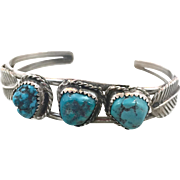 Turquoise Cuff, Sterling Silver, Vintage Bracelet, Native American, Cuff Bracelet, Navajo, Feather, Small Wrist, Boho, Multi Stone, Stacking
