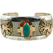 Turquoise Cuff, Kokopelli, Sterling Silver, Gold Filled, Flute Player, Signed, Native American, Vintage Jewelry, Southwestern, Wide