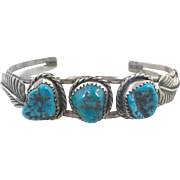 Turquoise Cuff, Sterling Silver, Vintage Bracelet, Native American, Cuff Bracelet, Navajo, Signed, Feather, Boho, Multi Stone, Stacking