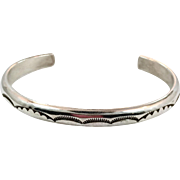 Native American Cuff, Sterling Silver, Vintage Bracelet, Signed, Lynn Edsitty, Sunrays, Rattlesnake Jaw Pattern, Hand Tooled, Stacking