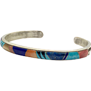 Turquoise Cuff, Inlaid, Sterling Silver, Native American,Tufa Cast, Signed, Lapis, Sugalite, Spiny Oyster, Onyx, Cuff Bracelet, Small Wrist