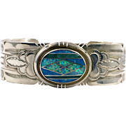 Opal Cuff, Turquoise Bracelet, Blue Lapis, Vintage Bracelet, Native American, Signed ES, Stamped, Inlay, Inlaid, Zuni, Fiery Lab Opal
