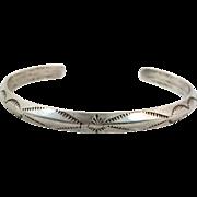 Navajo Bracelet, Sterling Silver, Cuff Bracelet, Native American, Carinated, Rain Pattern, Rattlesnake Jaw, Stacking, Small Wrist, Boho