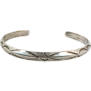 Navajo Bracelet, Sterling Silver, Cuff Bracelet, Native American, Carinated, Rain Pattern, Rattlesnake Jaw, Stacking, Small Wrist, Boho