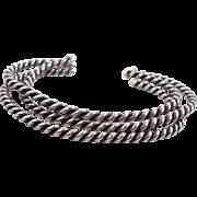 Sterling Silver Cuff, Set of 3, Cuff Bracelet, Vintage Bracelet, Small Wrist, Navajo, Native American, Twisted Pattern, Stacking Bracelet