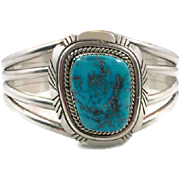 Turquoise Cuff, Sterling Silver, Vintage Bracelet, Native American, Navajo, Signed, G. Spencer, Heavy Silver, Big Stone, Quality, Statement