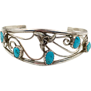 Turquoise Cuff, Sterling Silver, Vintage Bracelet, Flower, Rose, Signed, Small Wrist, Native American, Unique, Unusual, Boho, Stacking